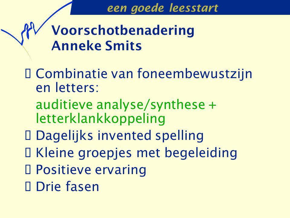een goede leesstart Voorschotbenadering Anneke Smits  Combinatie van foneembewustzijn en letters: auditieve analyse/synthese + letterklankkoppeling 