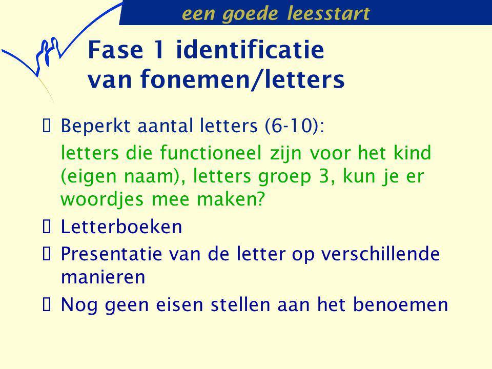 een goede leesstart Fase 1 identificatie van fonemen/letters  Beperkt aantal letters (6-10): letters die functioneel zijn voor het kind (eigen naam),