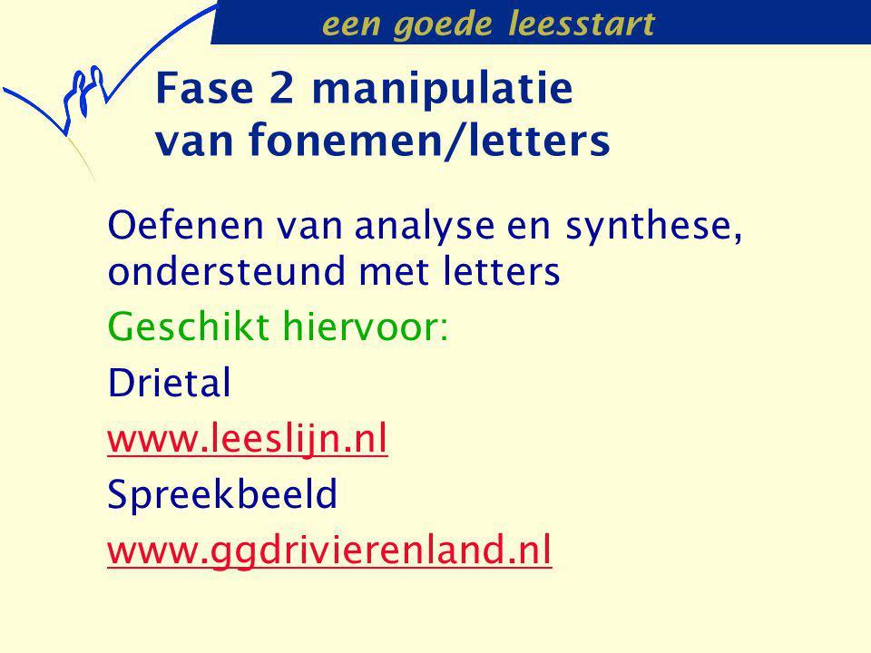 een goede leesstart Fase 2 manipulatie van fonemen/letters Oefenen van analyse en synthese, ondersteund met letters Geschikt hiervoor: Drietal www.lee