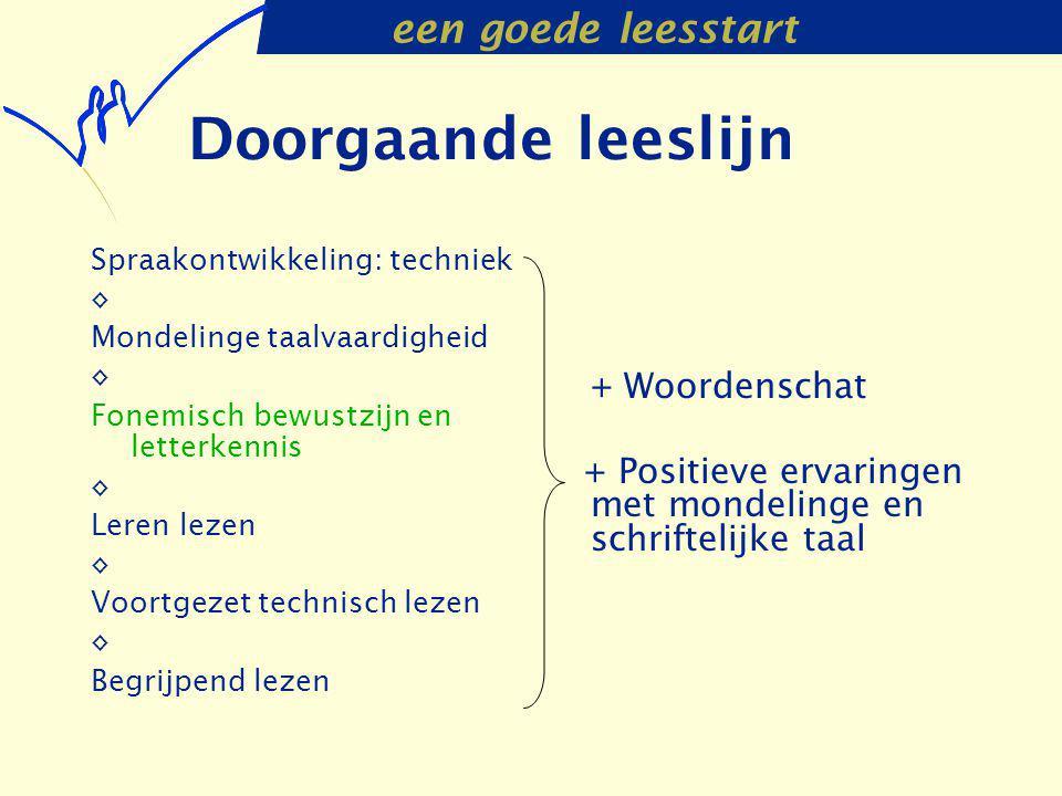 een goede leesstart Doorgaande leeslijn Spraakontwikkeling: techniek ◊ Mondelinge taalvaardigheid ◊ Fonemisch bewustzijn en letterkennis ◊ Leren lezen