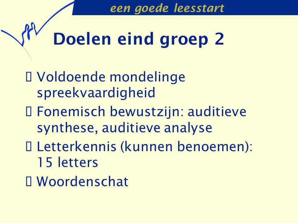 een goede leesstart Doelen eind groep 2  Voldoende mondelinge spreekvaardigheid  Fonemisch bewustzijn: auditieve synthese, auditieve analyse  Lette