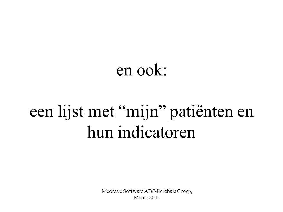 en ook: een lijst met mijn patiënten en hun indicatoren Medrave Software AB/Microbais Groep, Maart 2011