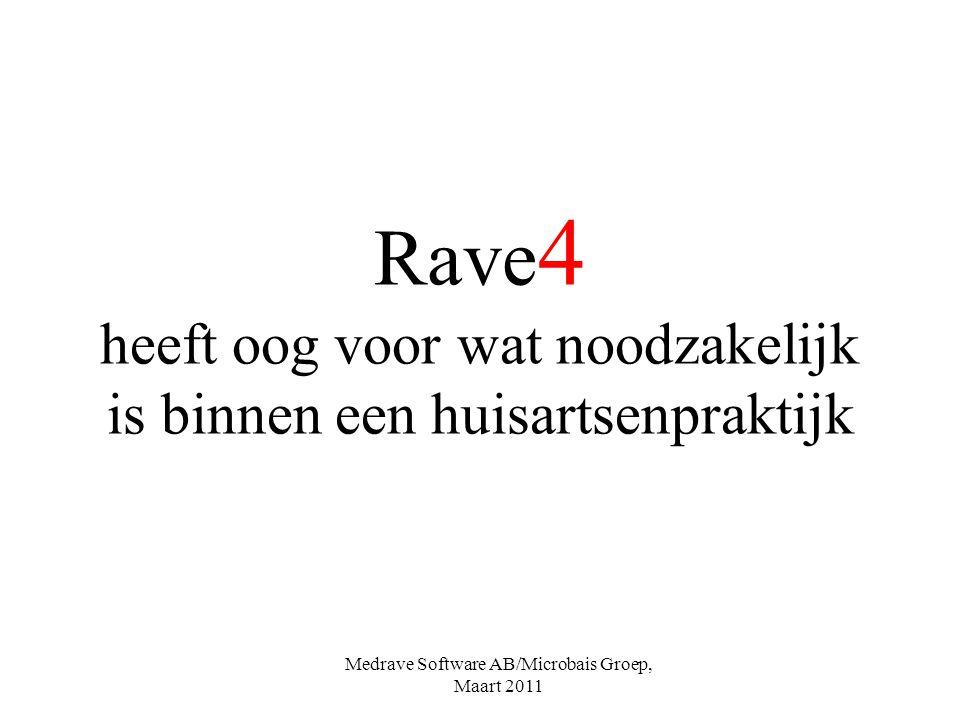 Rave 4 heeft oog voor wat noodzakelijk is binnen een huisartsenpraktijk Medrave Software AB/Microbais Groep, Maart 2011
