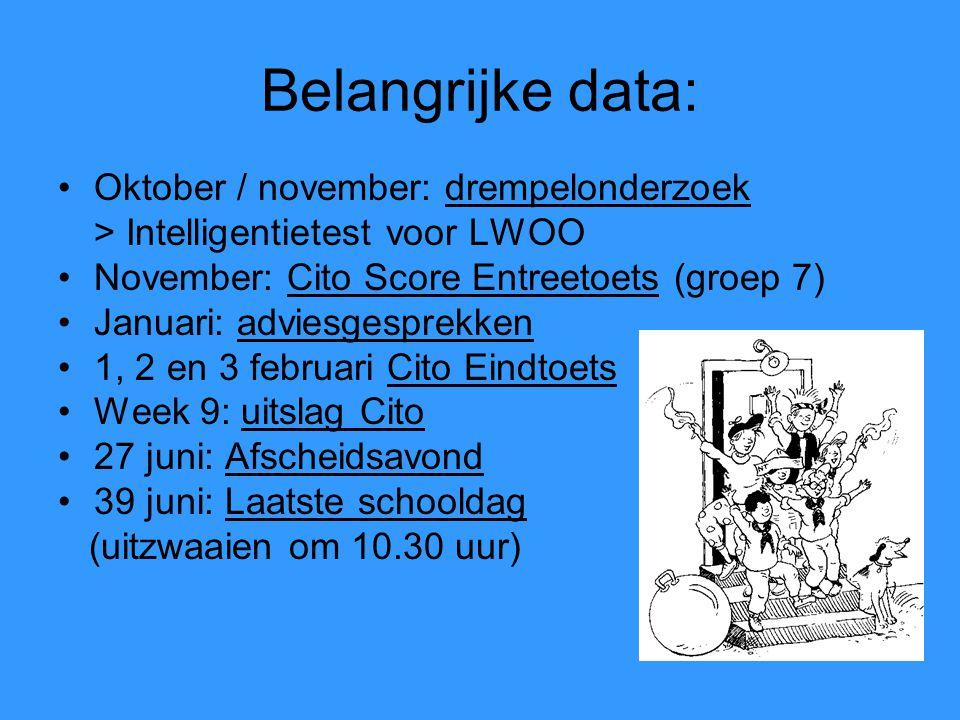 Belangrijke data: Oktober / november: drempelonderzoek > Intelligentietest voor LWOO November: Cito Score Entreetoets (groep 7) Januari: adviesgesprek