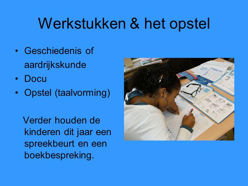 Werkstukken & het opstel Geschiedenis of aardrijkskunde Docu Opstel (taalvorming) Verder houden de kinderen dit jaar een spreekbeurt en een boekbespre