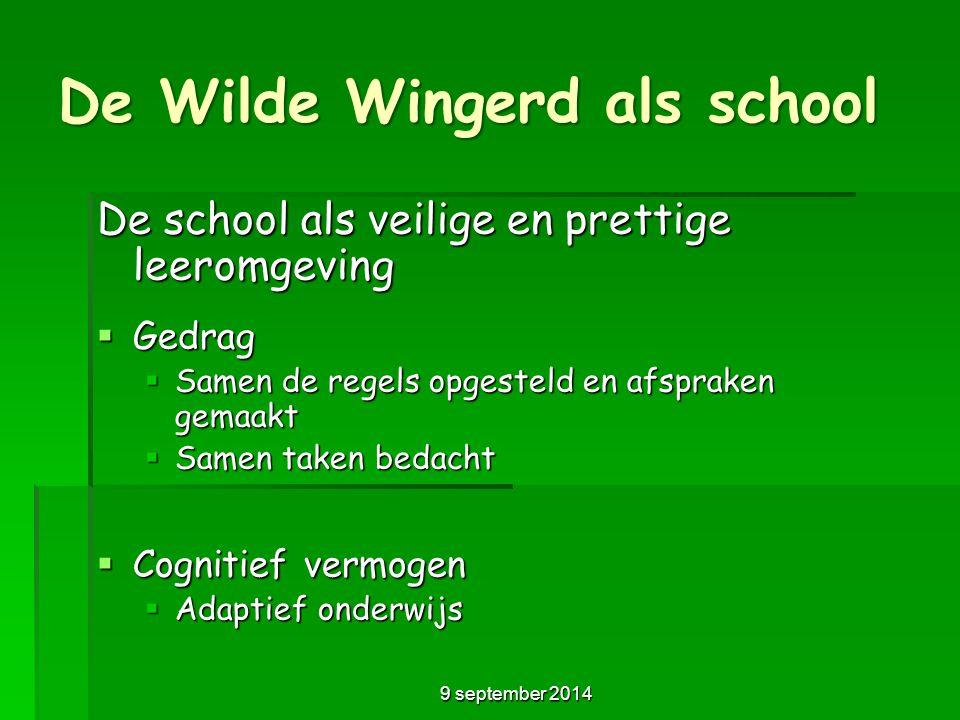 De Wilde Wingerd als school De school als veilige en prettige leeromgeving  Gedrag  Samen de regels opgesteld en afspraken gemaakt  Samen taken bed