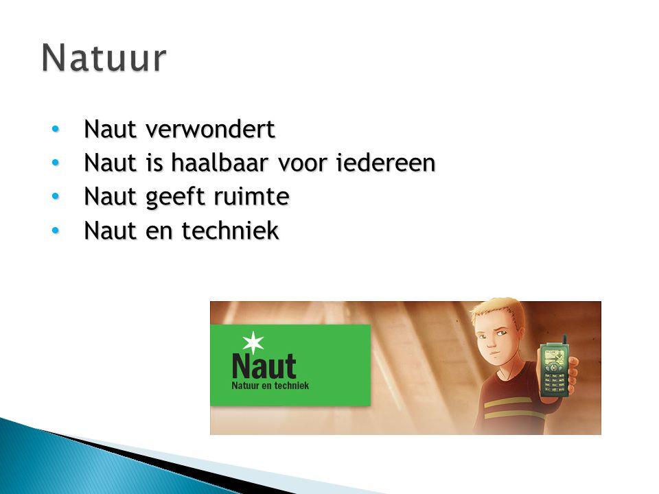 Naut verwondert Naut verwondert Naut is haalbaar voor iedereen Naut is haalbaar voor iedereen Naut geeft ruimte Naut geeft ruimte Naut en techniek Nau
