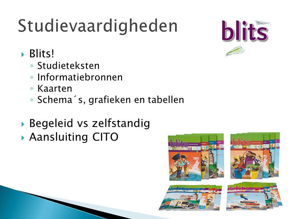 Studievaardigheden  Blits! ◦ Studieteksten ◦ Informatiebronnen ◦ Kaarten ◦ Schema´s, grafieken en tabellen  Begeleid vs zelfstandig  Aansluiting CI