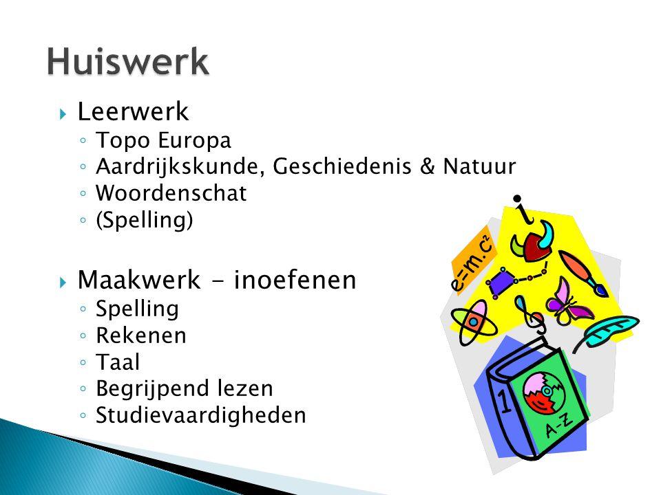  Leerwerk ◦ Topo Europa ◦ Aardrijkskunde, Geschiedenis & Natuur ◦ Woordenschat ◦ (Spelling)  Maakwerk - inoefenen ◦ Spelling ◦ Rekenen ◦ Taal ◦ Begr