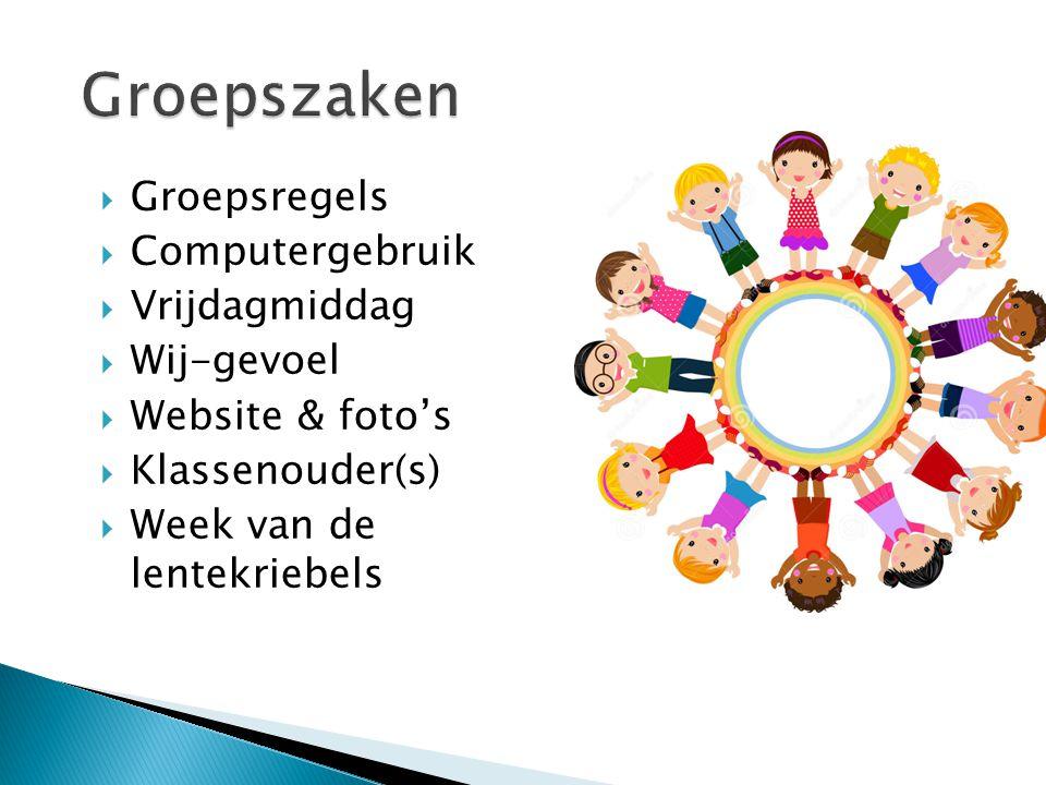  Groepsregels  Computergebruik  Vrijdagmiddag  Wij-gevoel  Website & foto's  Klassenouder(s)  Week van de lentekriebels