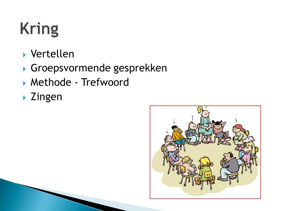  Vertellen  Groepsvormende gesprekken  Methode - Trefwoord  Zingen