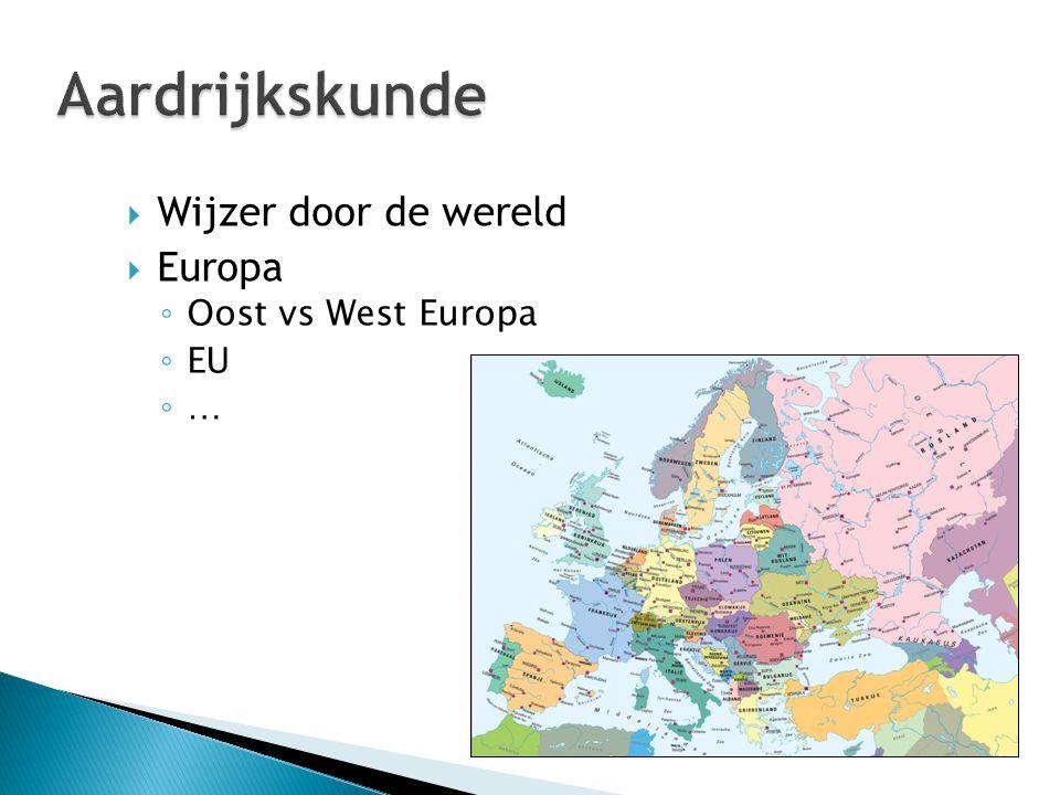  Wijzer door de wereld  Europa ◦ Oost vs West Europa ◦ EU ◦ …