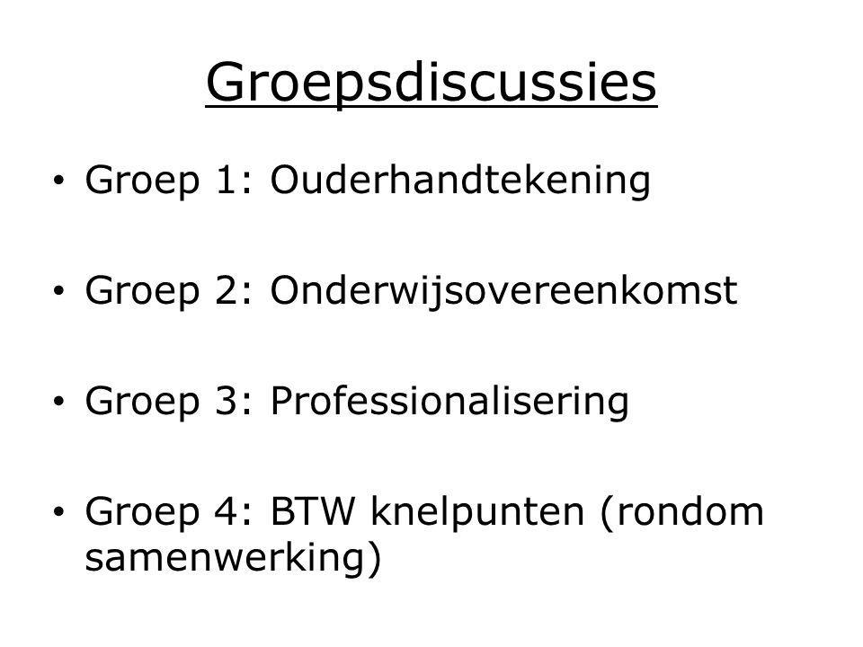 Groepsdiscussies Groep 1: Ouderhandtekening Groep 2: Onderwijsovereenkomst Groep 3: Professionalisering Groep 4: BTW knelpunten (rondom samenwerking)
