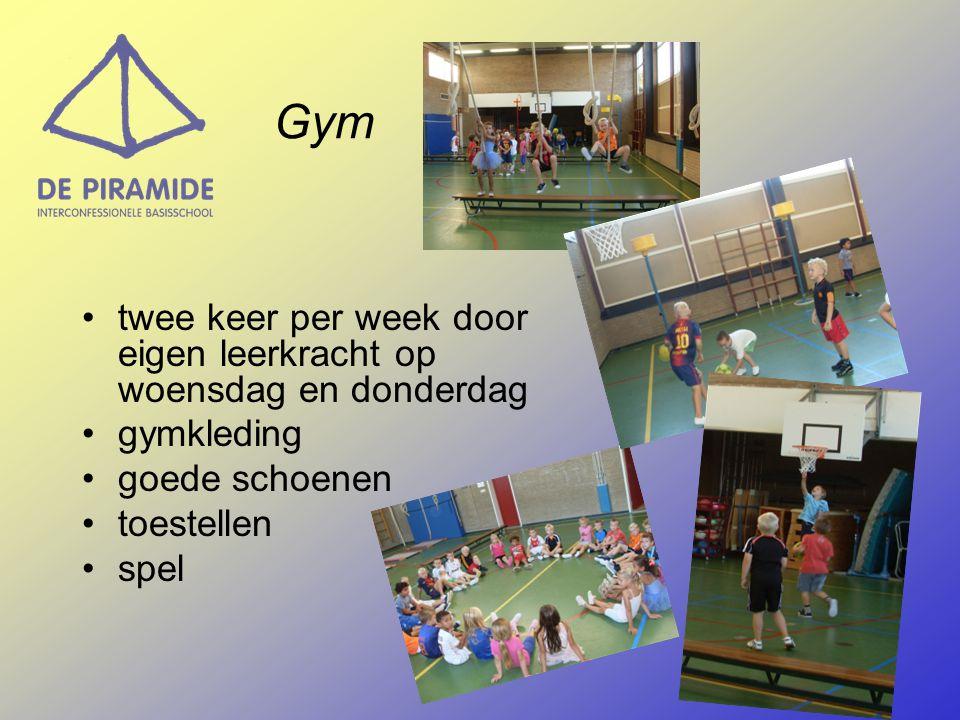 Gym twee keer per week door eigen leerkracht op woensdag en donderdag gymkleding goede schoenen toestellen spel