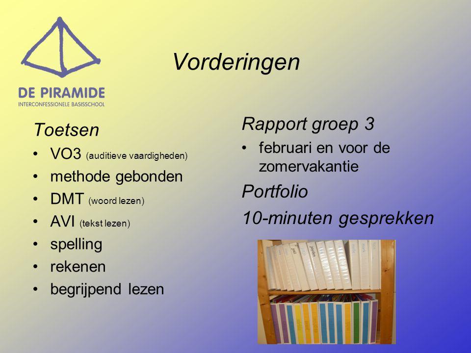 Vorderingen Toetsen VO3 (auditieve vaardigheden) methode gebonden DMT (woord lezen) AVI (tekst lezen) spelling rekenen begrijpend lezen Rapport groep