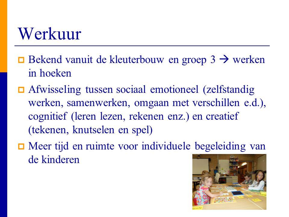 Werkuur  Bekend vanuit de kleuterbouw en groep 3  werken in hoeken  Afwisseling tussen sociaal emotioneel (zelfstandig werken, samenwerken, omgaan