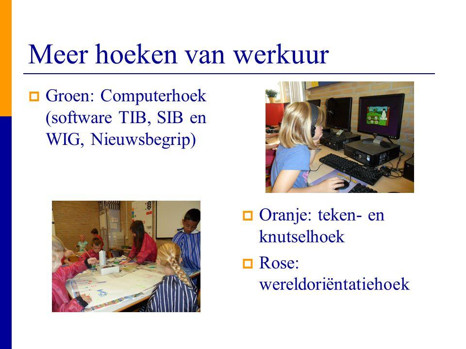 Meer hoeken van werkuur  Groen: Computerhoek (software TIB, SIB en WIG, Nieuwsbegrip)  Oranje: teken- en knutselhoek  Rose: wereldoriëntatiehoek
