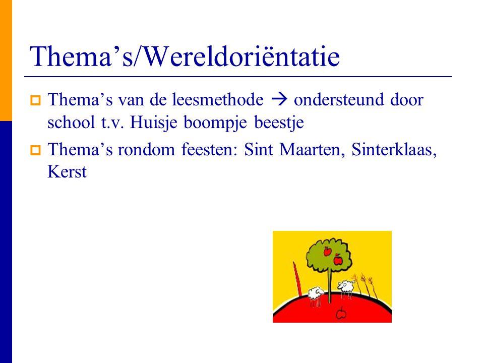 Thema's/Wereldoriëntatie  Thema's van de leesmethode  ondersteund door school t.v. Huisje boompje beestje  Thema's rondom feesten: Sint Maarten, Si