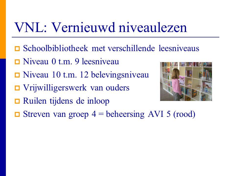 VNL: Vernieuwd niveaulezen  Schoolbibliotheek met verschillende leesniveaus  Niveau 0 t.m. 9 leesniveau  Niveau 10 t.m. 12 belevingsniveau  Vrijwi
