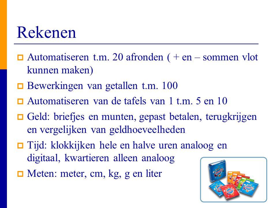 Rekenen  Automatiseren t.m. 20 afronden ( + en – sommen vlot kunnen maken)  Bewerkingen van getallen t.m. 100  Automatiseren van de tafels van 1 t.