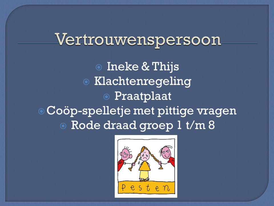  Ineke & Thijs  Klachtenregeling  Praatplaat  Coöp-spelletje met pittige vragen  Rode draad groep 1 t/m 8