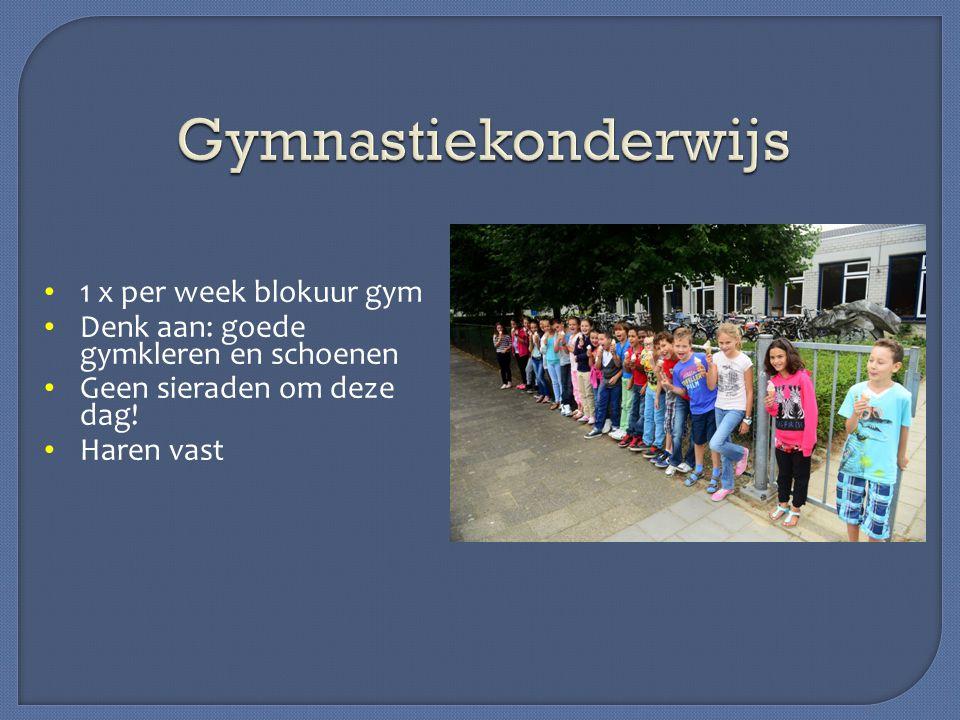 1 x per week blokuur gym Denk aan: goede gymkleren en schoenen Geen sieraden om deze dag! Haren vast