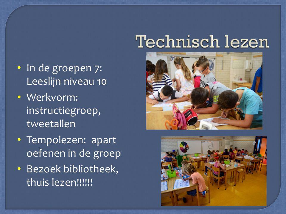 In de groepen 7: Leeslijn niveau 10 Werkvorm: instructiegroep, tweetallen Tempolezen: apart oefenen in de groep Bezoek bibliotheek, thuis lezen!!!!!!