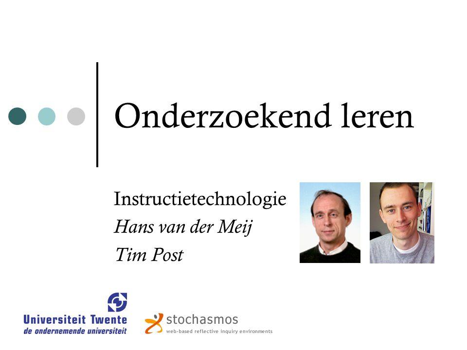 Onderzoekend leren Instructietechnologie Hans van der Meij Tim Post