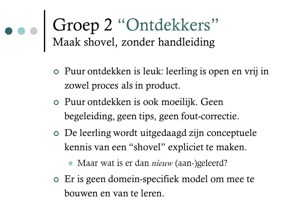 Groep 2 Ontdekkers Maak shovel, zonder handleiding Puur ontdekken is leuk: leerling is open en vrij in zowel proces als in product.