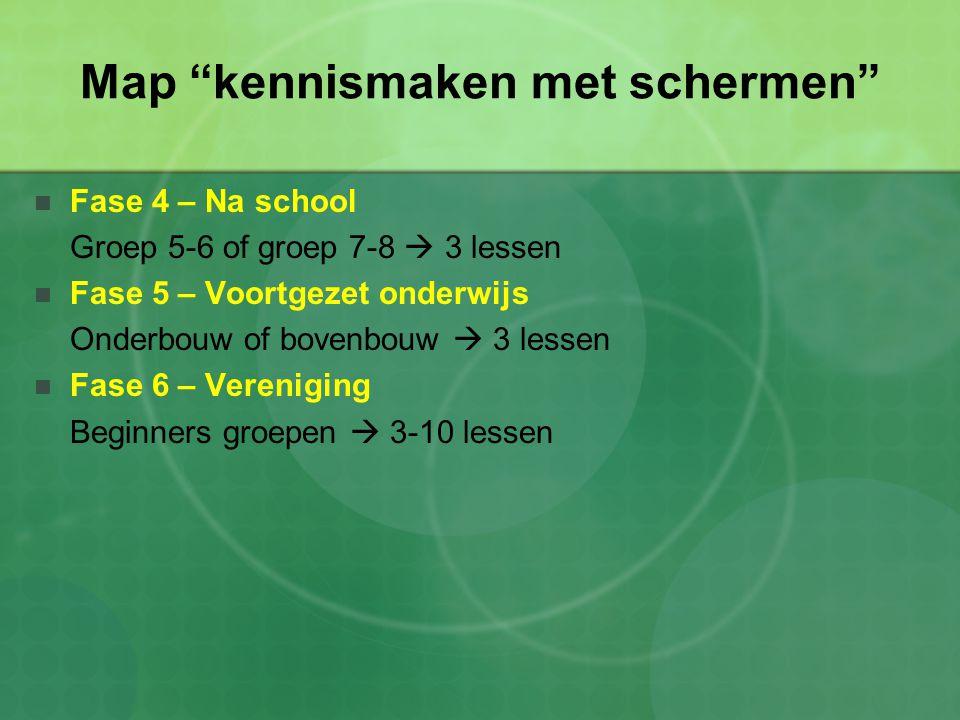 Map kennismaken met schermen Fase 4 – Na school Groep 5-6 of groep 7-8  3 lessen Fase 5 – Voortgezet onderwijs Onderbouw of bovenbouw  3 lessen Fase 6 – Vereniging Beginners groepen  3-10 lessen