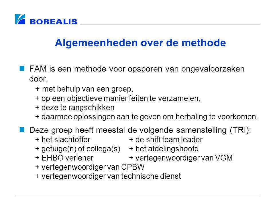 Algemeenheden over de methode FAM is een methode voor opsporen van ongevaloorzaken door, + met behulp van een groep, + op een objectieve manier feiten