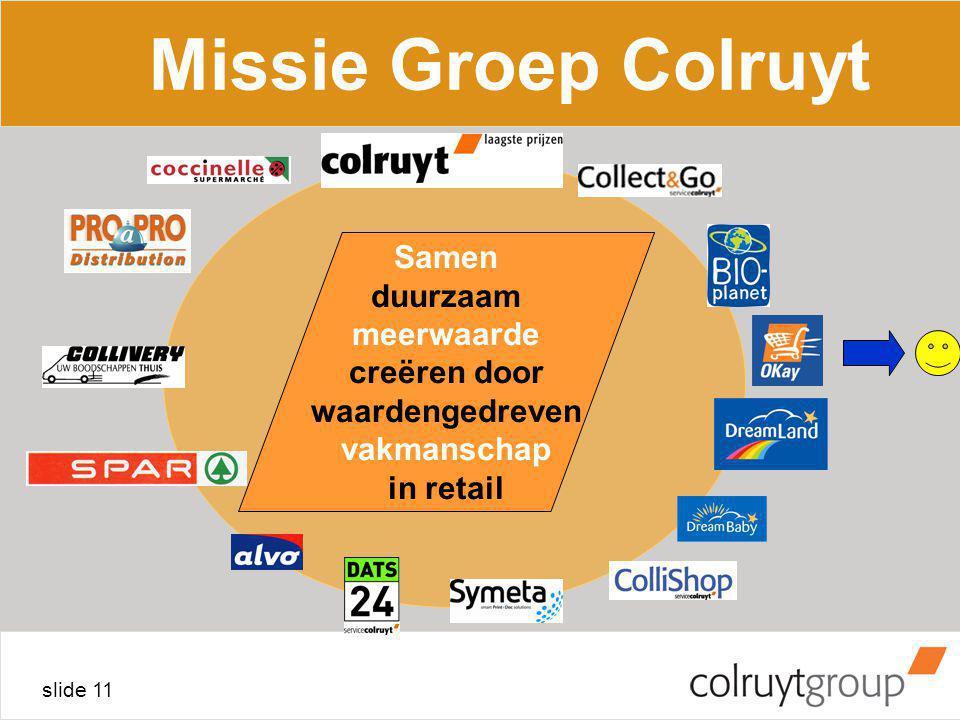 slide 11 Samen duurzaam meerwaarde creëren door waardengedreven vakmanschap in retail Missie Groep Colruyt