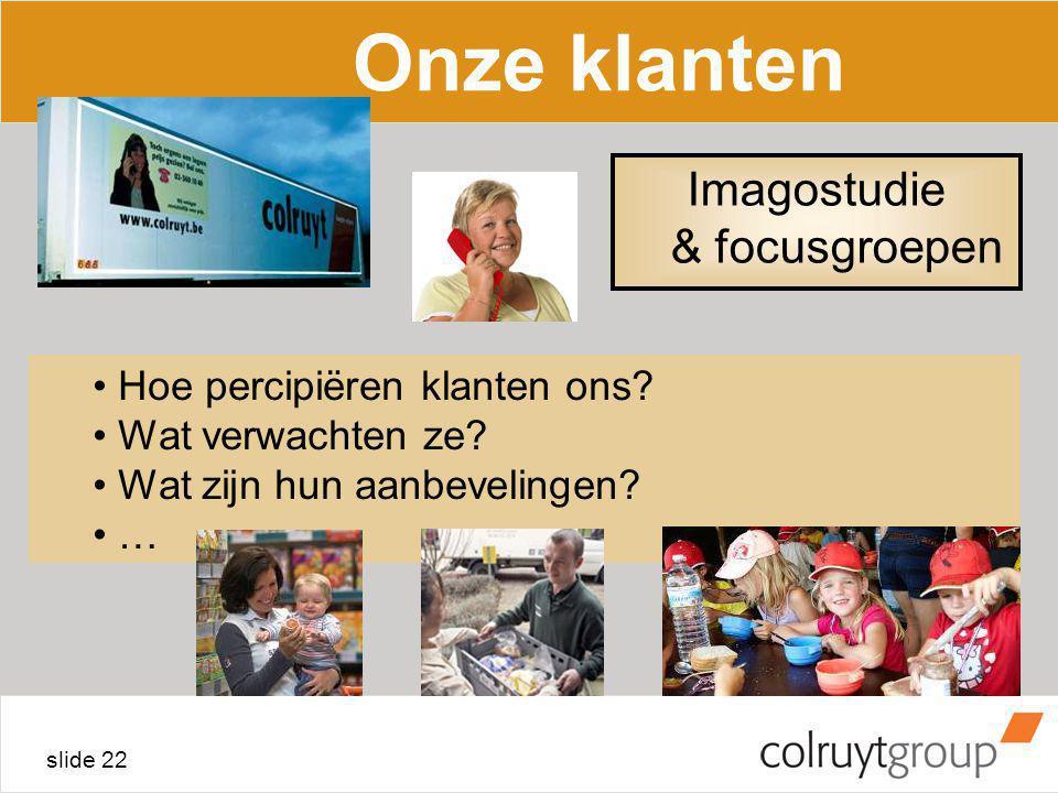 slide 22 Onze klanten Hoe percipiëren klanten ons? Wat verwachten ze? Wat zijn hun aanbevelingen? … Imagostudie & focusgroepen