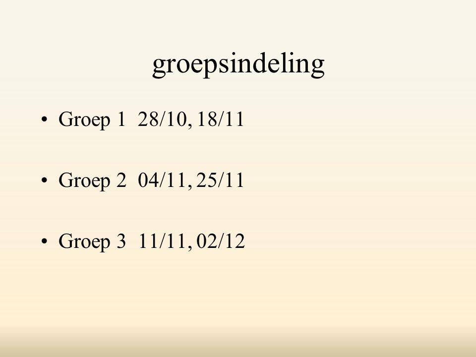 groepsindeling Groep 1 28/10, 18/11 Groep 2 04/11, 25/11 Groep 3 11/11, 02/12
