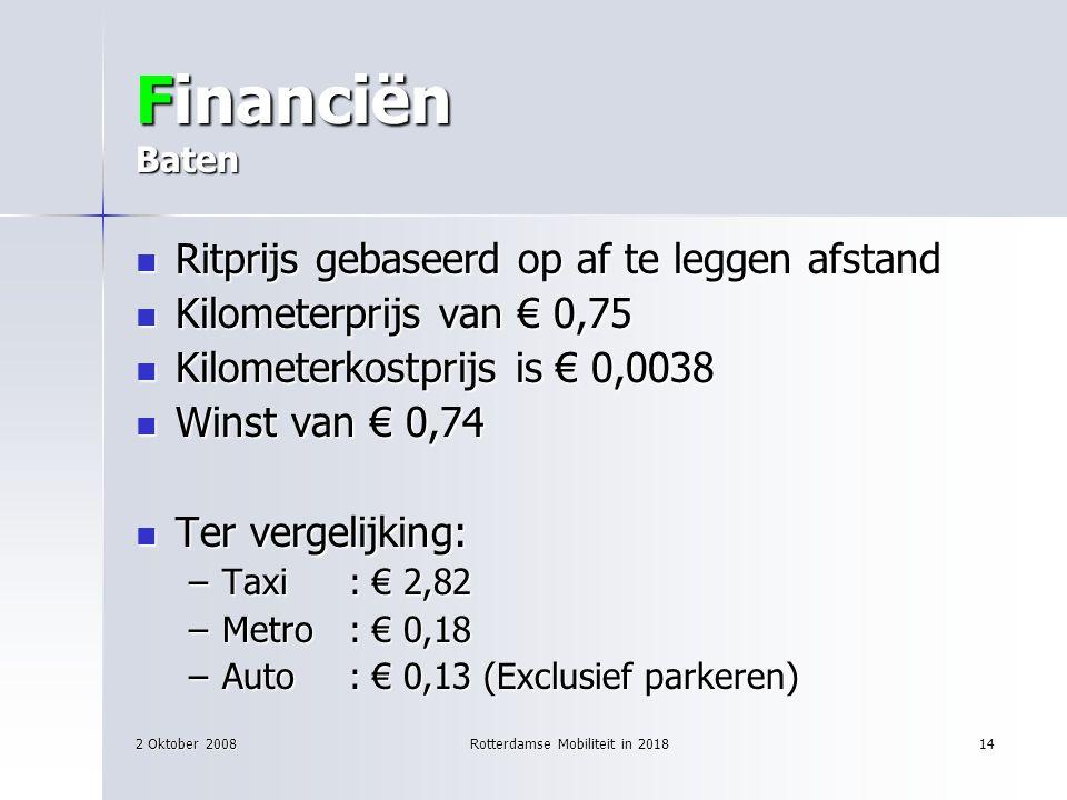 2 Oktober 2008Rotterdamse Mobiliteit in 201814 Financiën Baten Ritprijs gebaseerd op af te leggen afstand Ritprijs gebaseerd op af te leggen afstand K