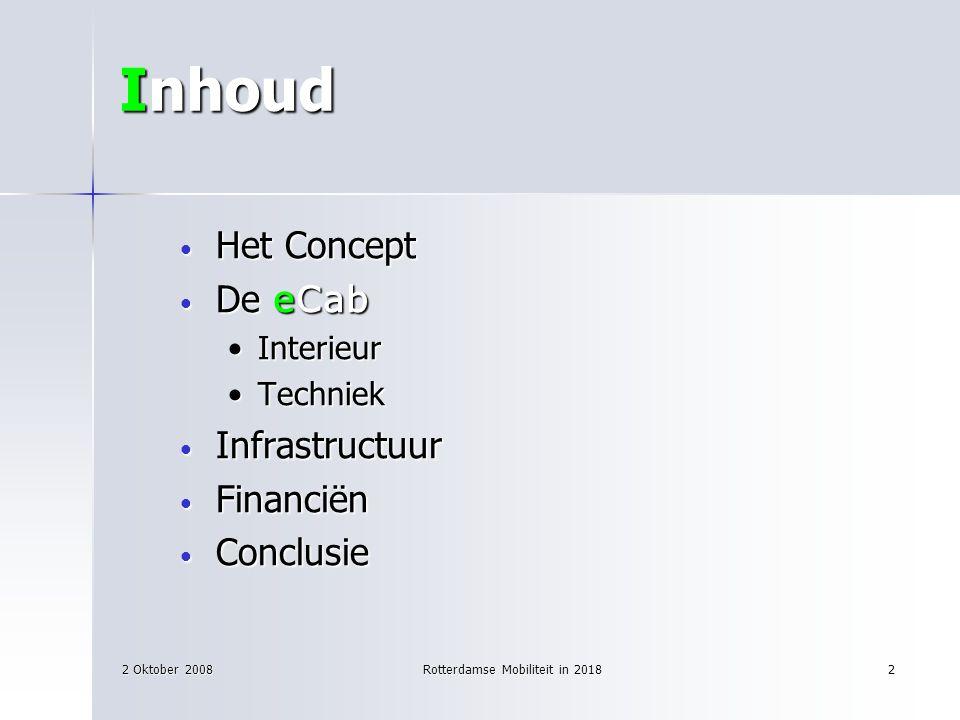 2 Oktober 2008Rotterdamse Mobiliteit in 20182 Inhoud Het Concept Het Concept De eCab De eCab InterieurInterieur TechniekTechniek Infrastructuur Infras