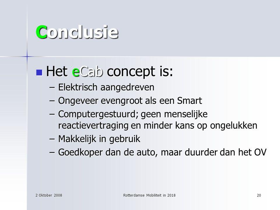 2 Oktober 2008Rotterdamse Mobiliteit in 201820 Conclusie Het eCab concept is: Het eCab concept is: –Elektrisch aangedreven –Ongeveer evengroot als een