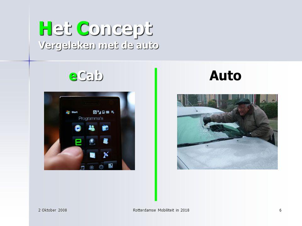 2 Oktober 2008Rotterdamse Mobiliteit in 20186 Het Concept Vergeleken met de auto eCab Auto eCab Auto