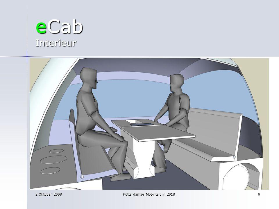 2 Oktober 2008Rotterdamse Mobiliteit in 20189 eCab Interieur