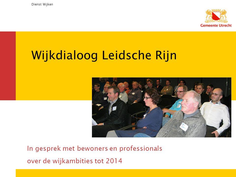 Dienst Wijken Wijkdialoog Leidsche Rijn In gesprek met bewoners en professionals over de wijkambities tot 2014