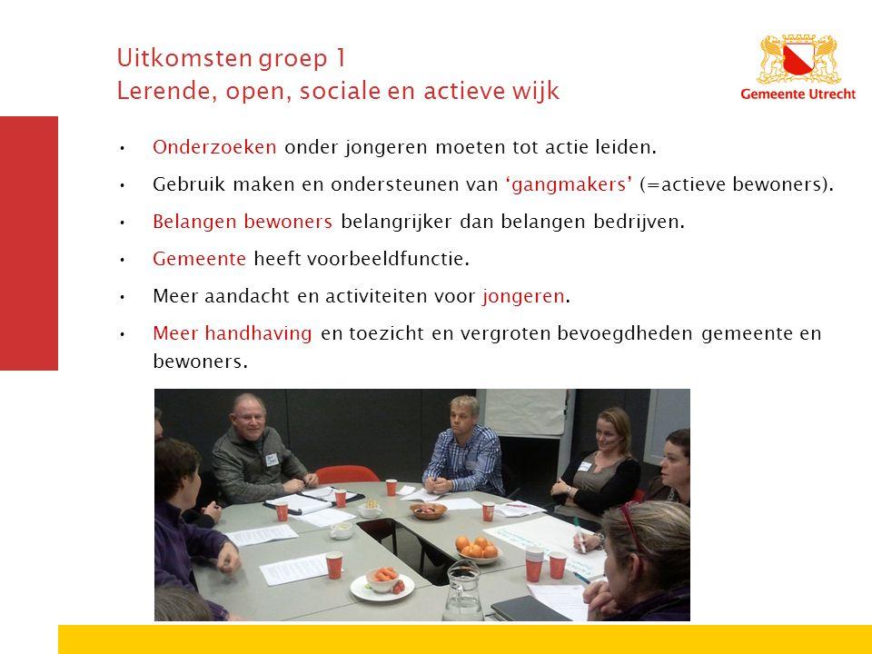 Uitkomsten groep 1 Lerende, open, sociale en actieve wijk Onderzoeken onder jongeren moeten tot actie leiden. Gebruik maken en ondersteunen van 'gangm