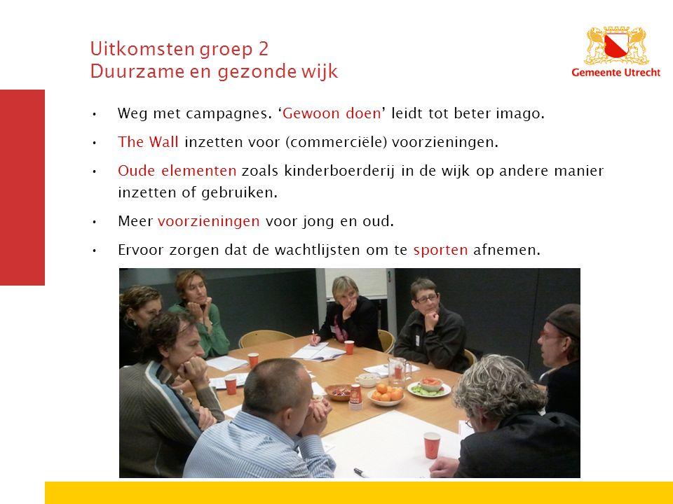 Uitkomsten groep 2 Duurzame en gezonde wijk Weg met campagnes. 'Gewoon doen' leidt tot beter imago. The Wall inzetten voor (commerciële) voorzieningen
