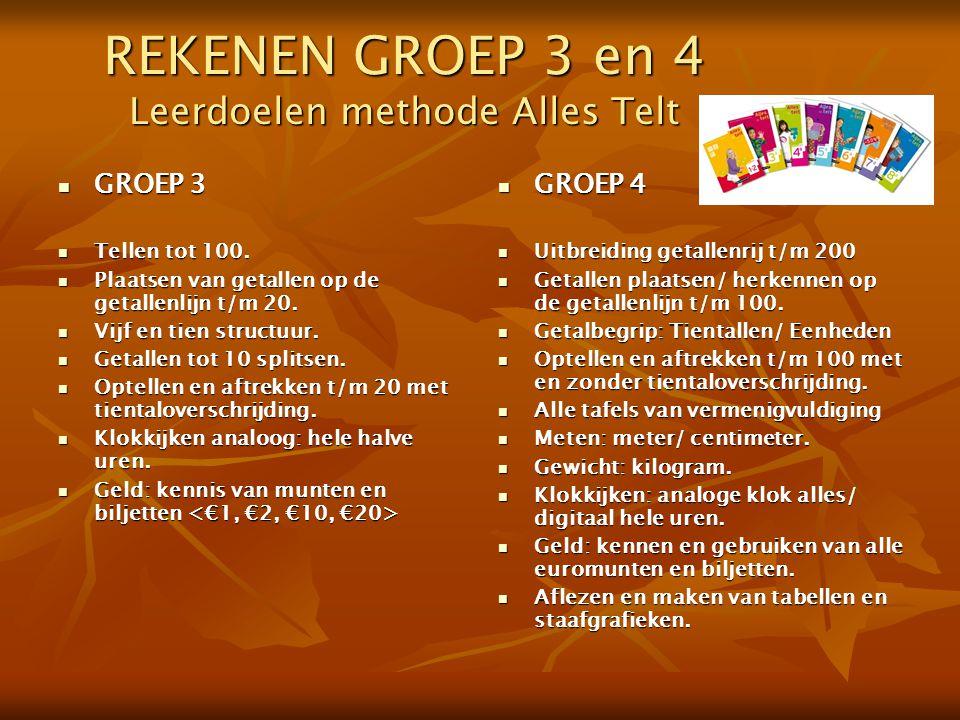 REKENEN GROEP 3 en 4 Leerdoelen methode Alles Telt GROEP 3 GROEP 3 Tellen tot 100. Tellen tot 100. Plaatsen van getallen op de getallenlijn t/m 20. Pl