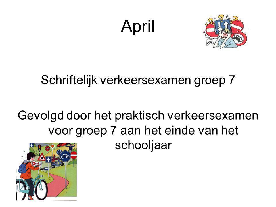April Schriftelijk verkeersexamen groep 7 Gevolgd door het praktisch verkeersexamen voor groep 7 aan het einde van het schooljaar