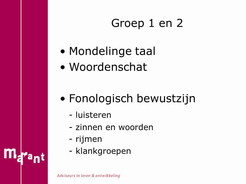 Groep 1 en 2 Mondelinge taal Woordenschat Fonologisch bewustzijn - luisteren - zinnen en woorden - rijmen - klankgroepen