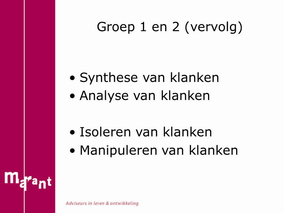 Groep 1 en 2 (vervolg) Synthese van klanken Analyse van klanken Isoleren van klanken Manipuleren van klanken