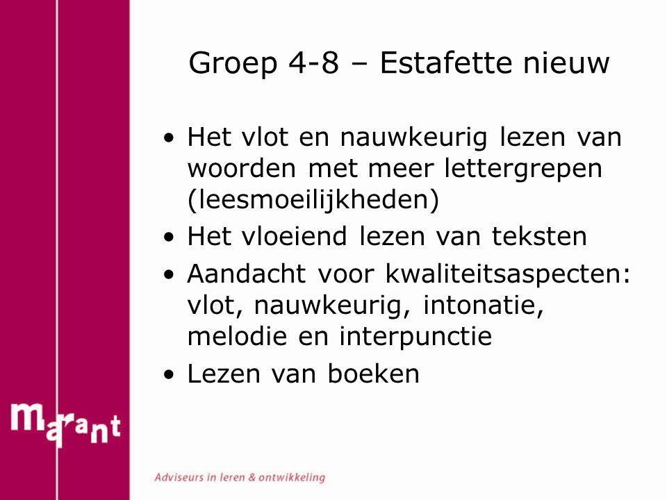 Groep 4-8 – Estafette nieuw Het vlot en nauwkeurig lezen van woorden met meer lettergrepen (leesmoeilijkheden) Het vloeiend lezen van teksten Aandacht