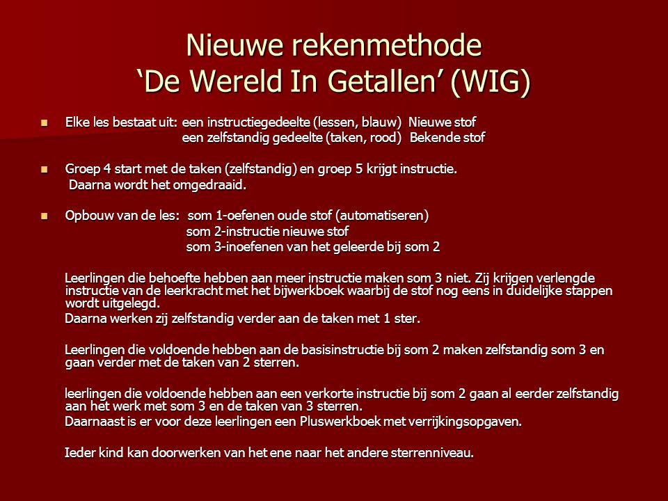Nieuwe rekenmethode 'De Wereld In Getallen' (WIG) Elke les bestaat uit: een instructiegedeelte (lessen, blauw) Nieuwe stof Elke les bestaat uit: een i