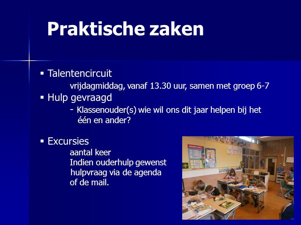 Praktische zaken  Talentencircuit vrijdagmiddag, vanaf 13.30 uur, samen met groep 6-7  Hulp gevraagd - Klassenouder(s) wie wil ons dit jaar helpen b