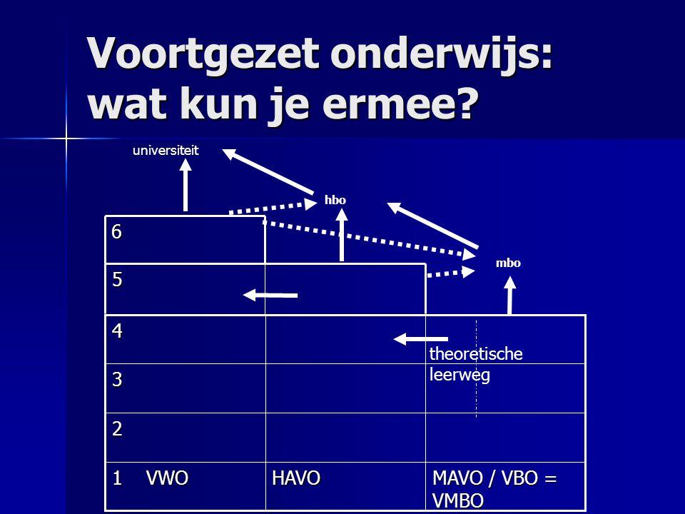 MAVO / VBO = VMBO HAVO 1 VWO 2 3 4 5 6 universiteit hbo mbo theoretische leerweg Voortgezet onderwijs: wat kun je ermee?